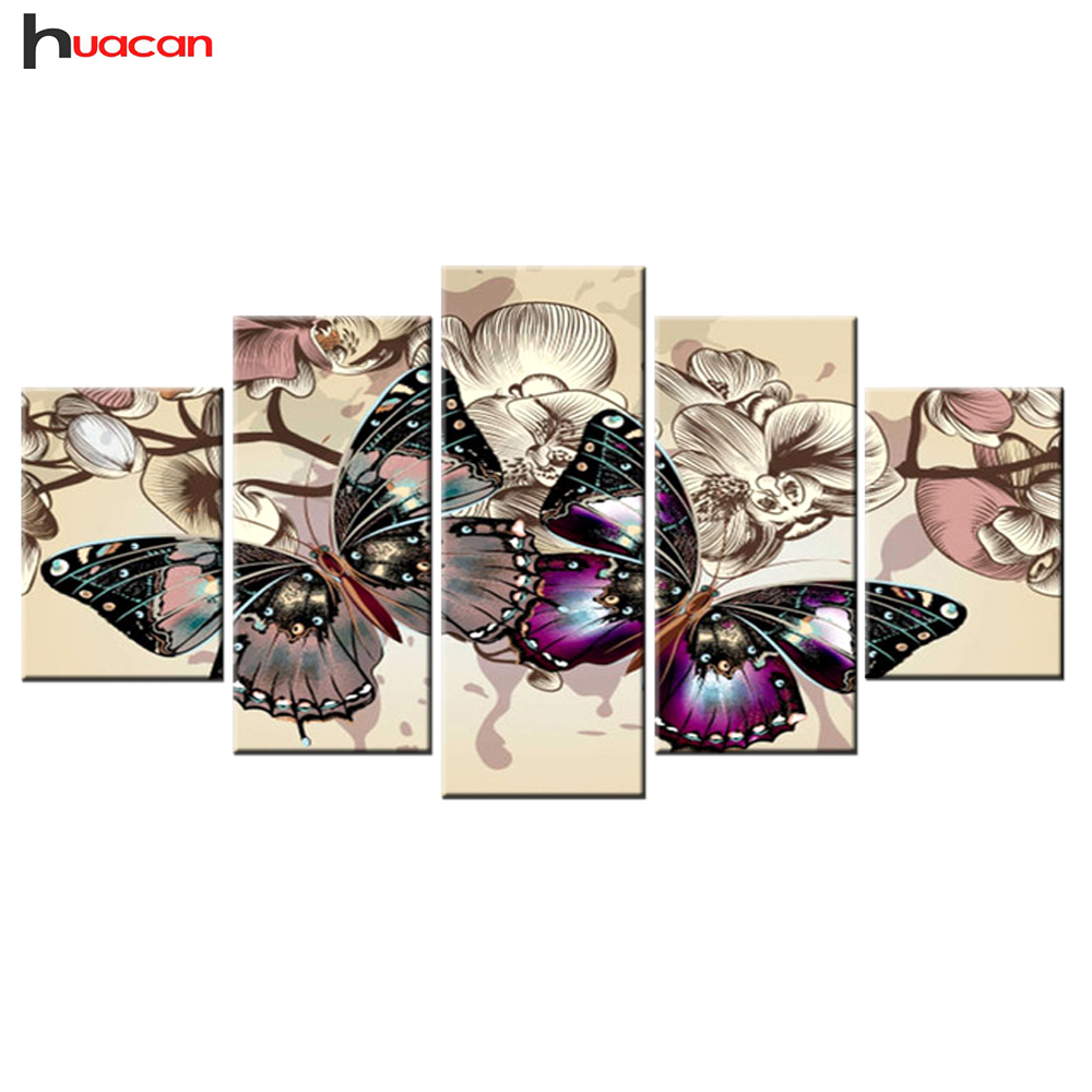 Huacan Diamond Mosaic Butterfly Multi-picture Combination Full Square Embroidery Cross Stitch Painting Art Gift 5 pcs/set