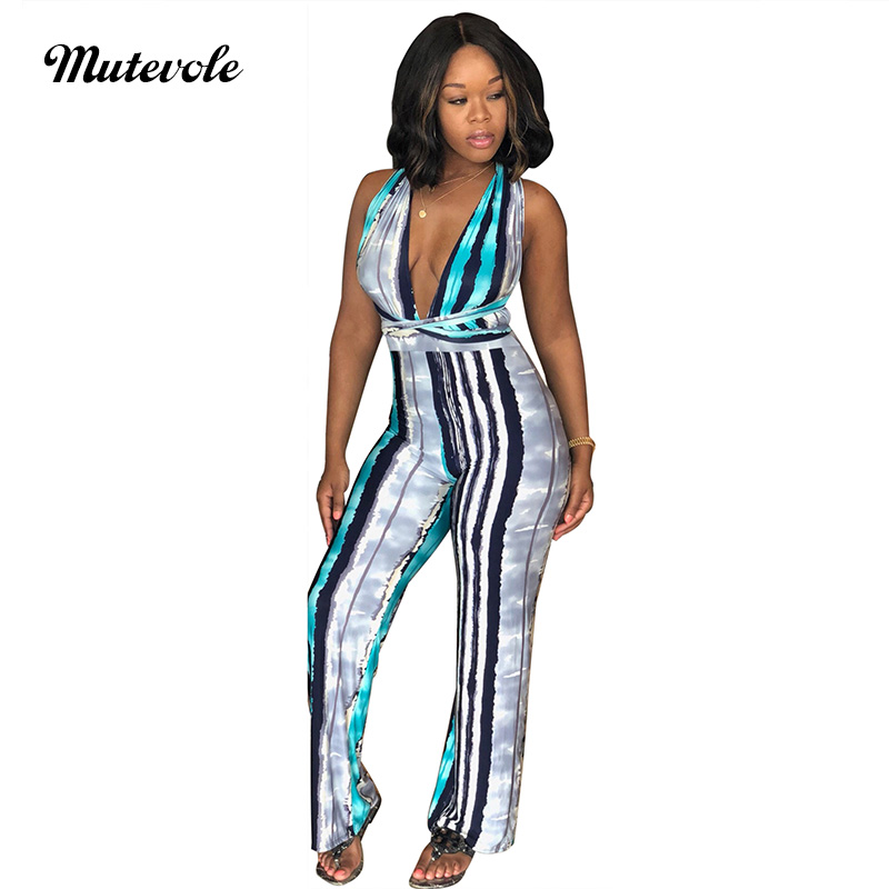 Mutevole PLUS SIZE Sleeveless Striped Jumpsuit Romper Women V Neck Printed Strap Jumpsuit Sexy Summer Bandage Bodycon Jumpsuit