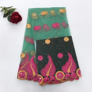 New arrive Pretty african lace fabric with stones embroidery french tulle lace fabric 8 color available 5 yards per lot