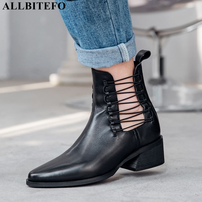 ALLBITEFO fashion retro genuine leather thick heel martin boots for women high quality women boots women