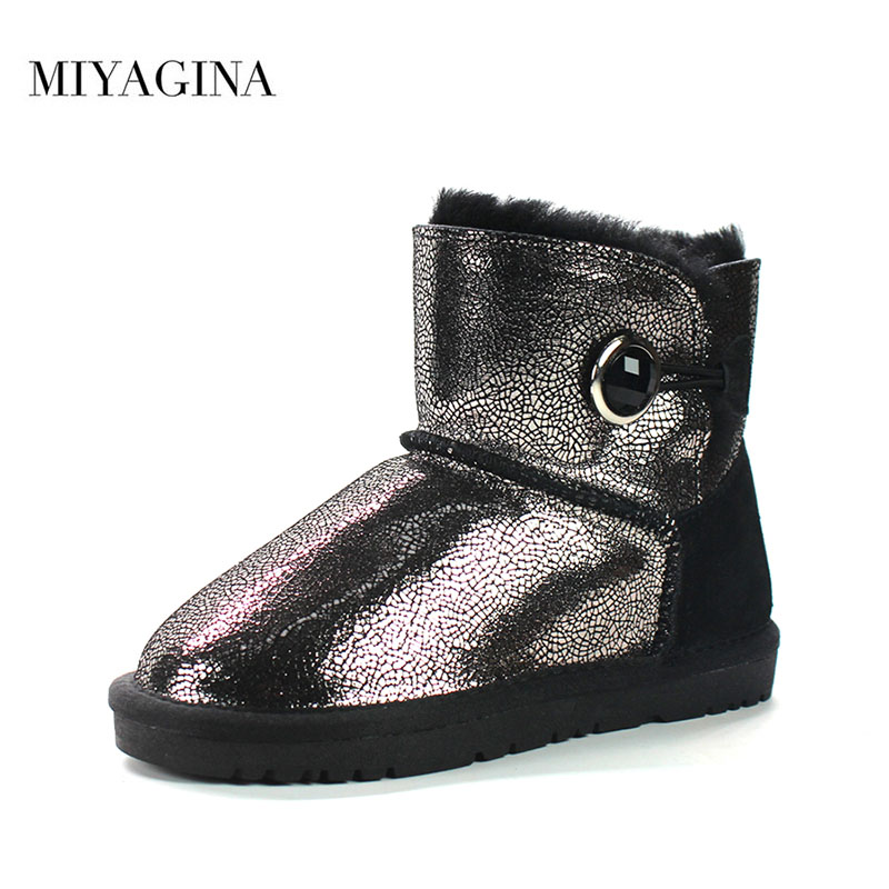 2018 Winter New Fashion Children Girls Snow Boots Warm Natural Fur Boys Girls Boots Genuine Leather Winter Ankle Boots For Kids babyfeet 2017 winter fashion warm plush high top genuine cow leather children ankle girls snow boots kids boys shoes sneakers