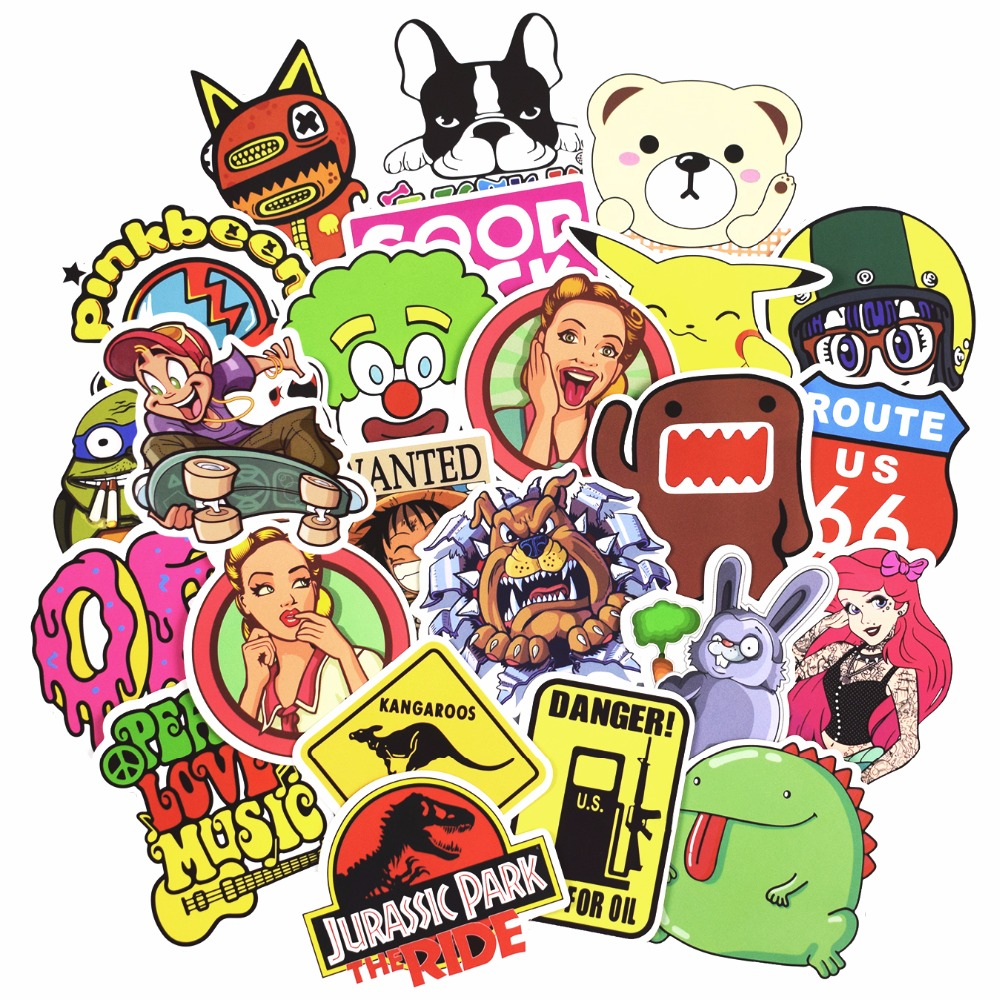 Hot 50-100 PCS Mix Stickers para Laptop Skateboard Equipaje Car - Juguetes clásicos - foto 2