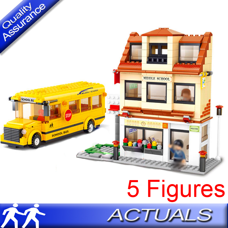 Sluban 0333 Compatible with Lego City Middle School Bus Building Block School Car DIY Model Bricks Eductional Toys for Children