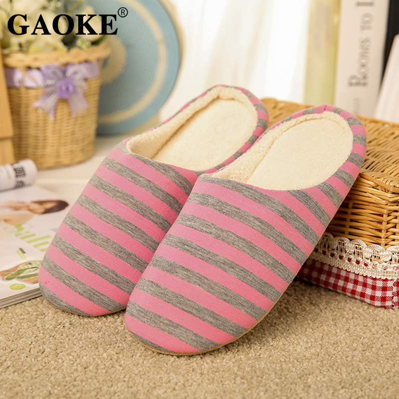 Striped Soft Bottom Home Slippers Cotton Warm Shoes Women Indoor Floor Slippers Non-slips Shoes For Bedroom House Woman Slippers