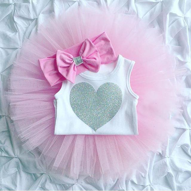 0-18M Newborn Infant Baby Girls Clothes Sleeveless Heart Bodysuit Romper + Tutu Skirt + Headband 3pcs Outfit Kids Clothing Set 13