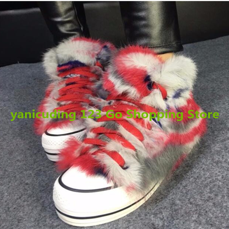 Rainbow Color Fur Design Women Ankle Boots Lace Up Flats Winter Warm Shoes High Top Zapatos Mujer Luxury Brand Stylish Booties 2017 girl boys clothes jacket long parkas kids hooded outerwear solid cotton warm long style children winter coats for 3 10y