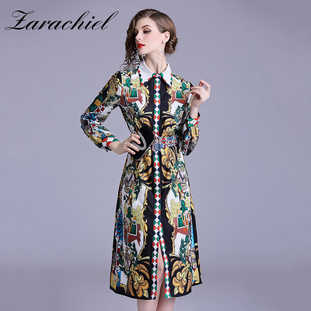e168436da04 2019 Autumn Designer Runway Shirt Dress Long Sleeve Vintage Print Button  Down Straight Dress Women s Turn Down Collar Belt Dress