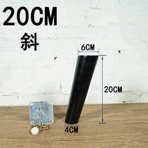 Image 5 - 4 unids/lote muebles con patas de madera cónicas oblicuas muebles de madera confiable patas de armarios patas de sofá de mesa negro con placa de Metal B528
