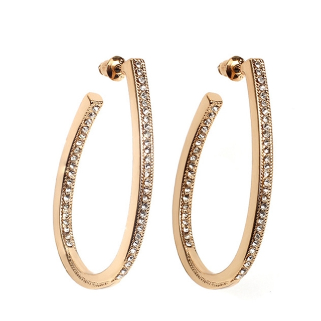 Fashion Oval Hoop Earrings For Women Rose Gold Color Rhinestones Earring Jewelry
