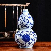 Ceramic vase Ornaments Antique Blue and white porcelain Flower Hulu Home Decorations Flower arrangement in the living room