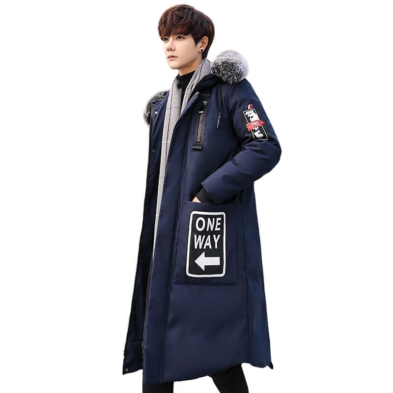 2019 Fashion Winter Jacket Men Hooded Real Fur Parka Men Warm White Duck Down Jacket Plus Size 3XL Streetwear Coat Men Long