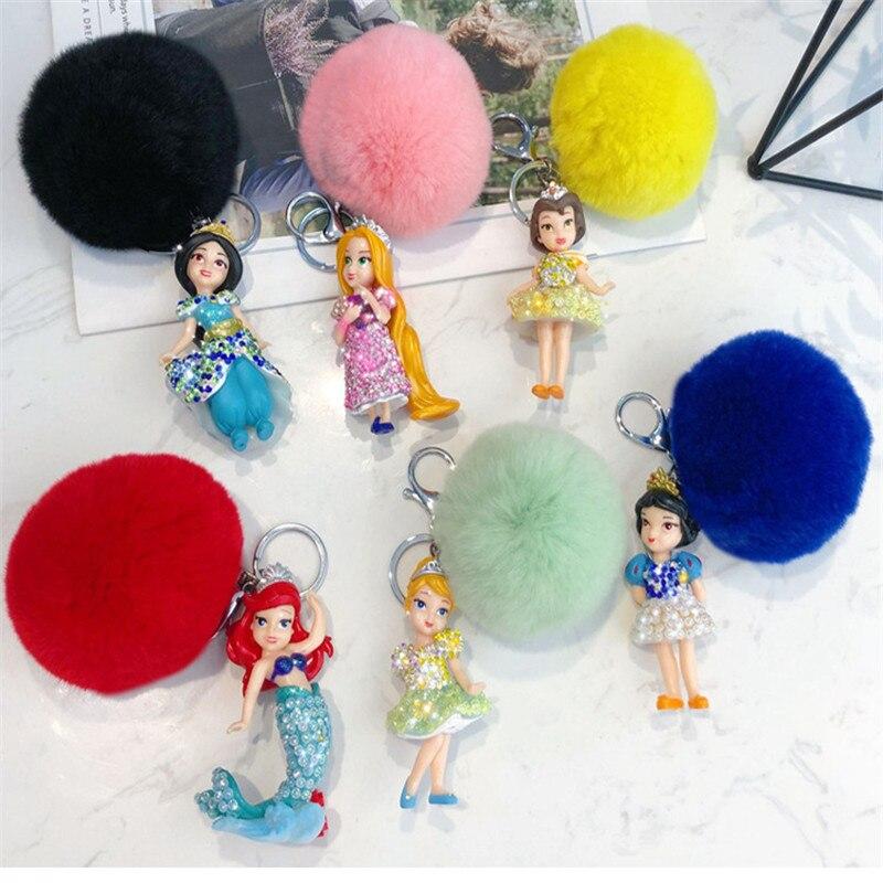 New Fashion 3D Doll Key chain Women Fairy Doll Crystal Mermaid snow White Keychains Jewelry Porte Clef Pompom keyring Gifts