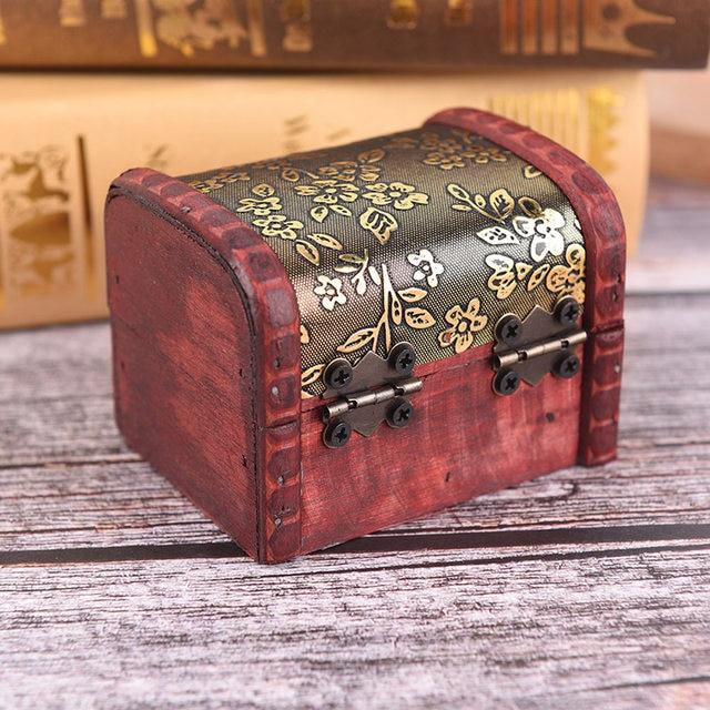 Bon 1pc Vintage Style Beautiful Miniature Wooden Gold Storage Box Metal Locking  Jewelry Cufflinks Chest Case New Arrival