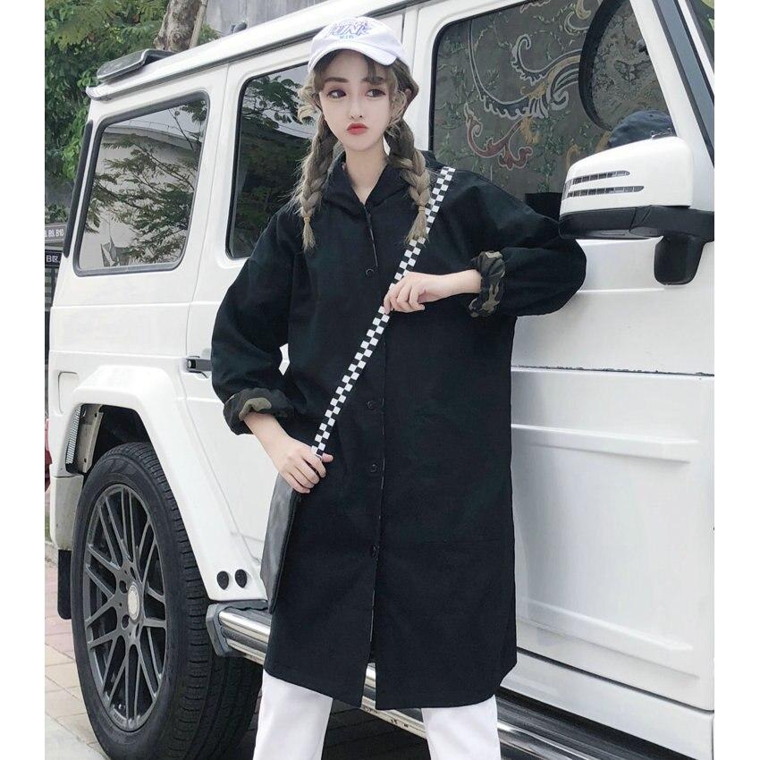 Camouflage Loisirs Black Manteaux Côté Surcoût Dame De Capuche Manteau Portant 2xl Vestes À Femme Décontracté Un Survêtement Veste Femmes Surdimensionné 2 Hood Coat Capot 1Hw75aq