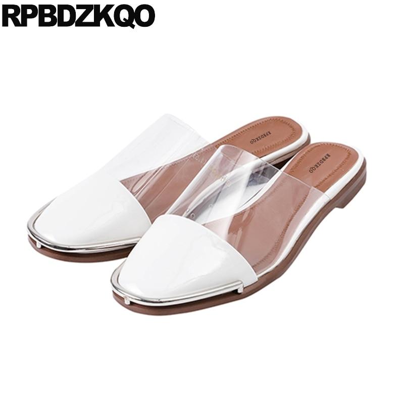 Diapositives Transparent Designer Sandales Automne Pantoufles Chaussures En Pvc Mules Cuir Mode Luxe Coréenne Beige Dames Clair Plat Femmes De 2018 xqxOgwS
