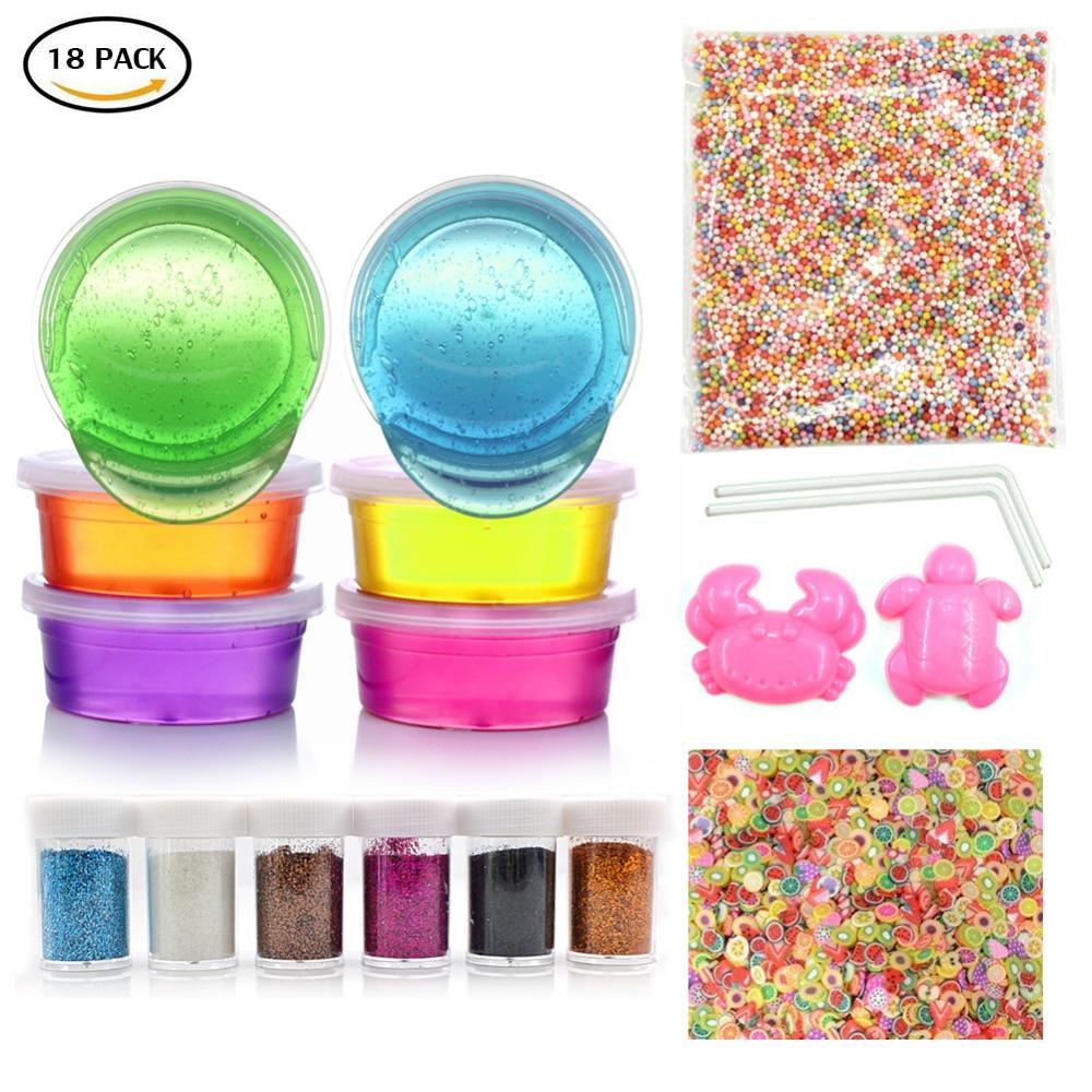 18 Pack Slime Kit - Include 6 culori Slime cu 1 pachet Bile de spumă - Învățare și educație
