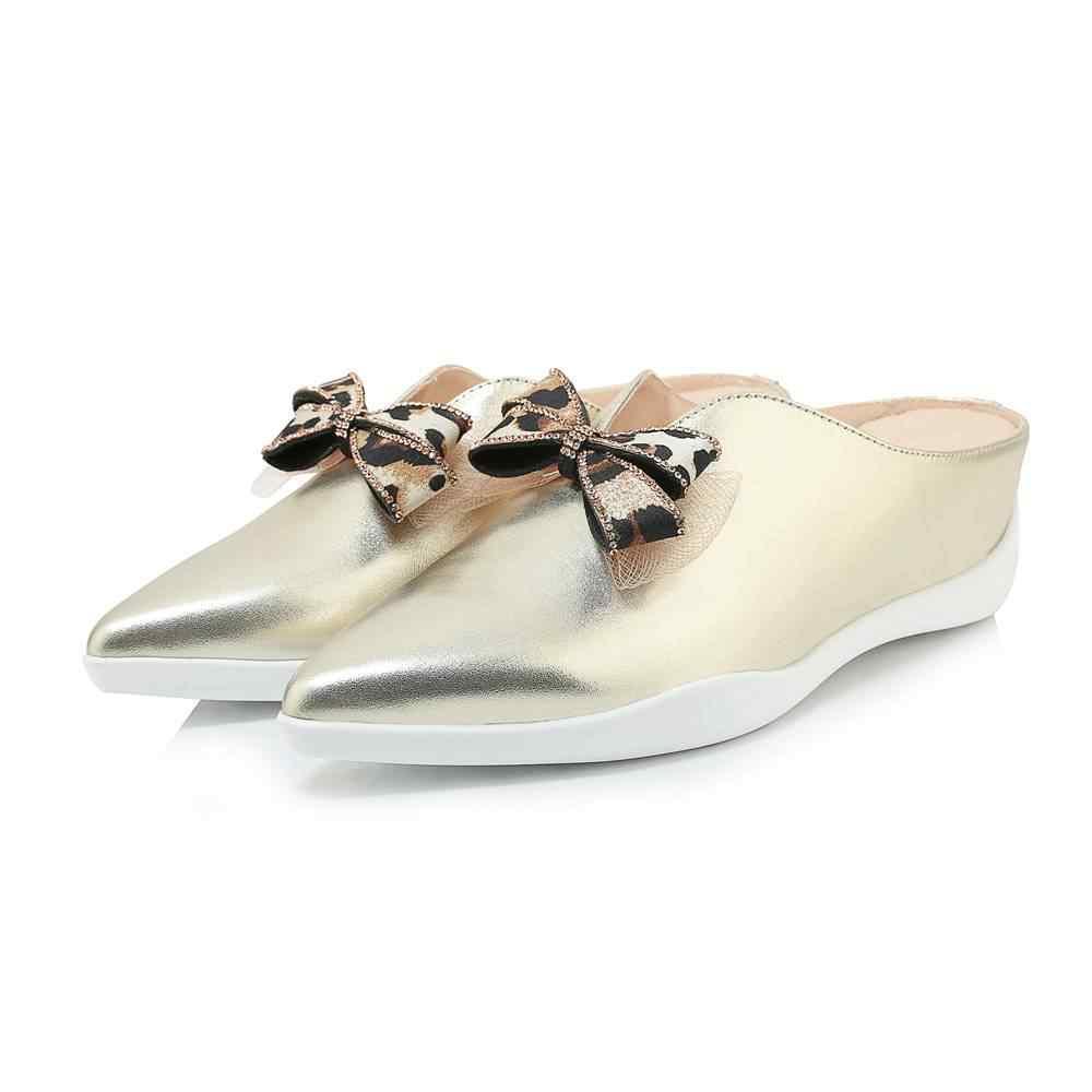 Lenkisen zarif lady katı klasik kelebek-düğüm katırlar inek deri kayma med topuklar loafers sivri burun vulkanize ayakkabı L96