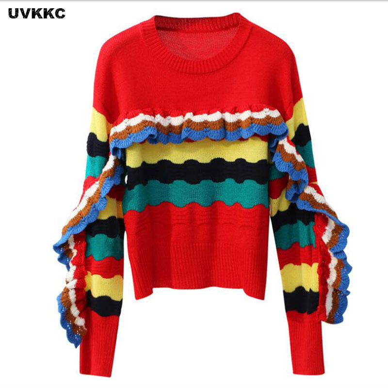 sweater mujer invierno 2017 rainbow striped sweaters knitted pullovers o neck christmas colorful jumpers autumn knit outwear