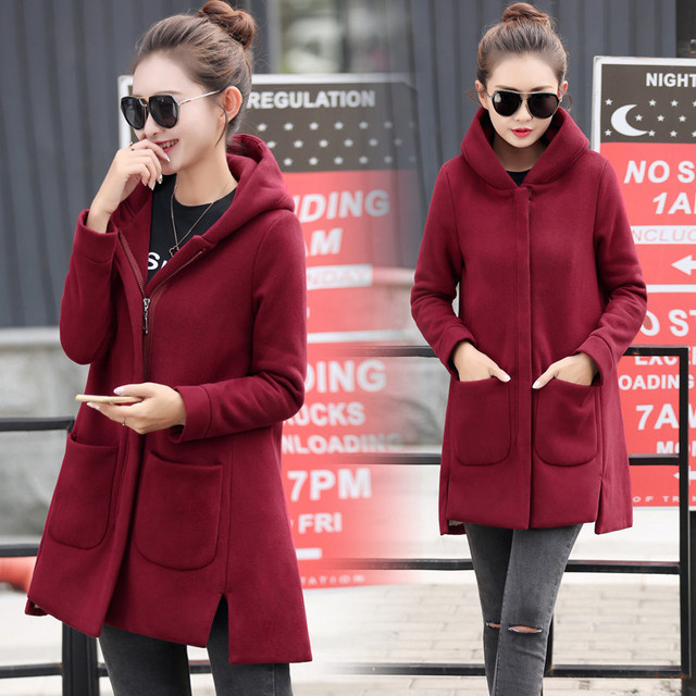 Autumn Winter Women's Fleece Jacket Coats Female Long Hooded Coats Outerwear Warm Thick Female Red Slim Fit Hoodies Jackets 21