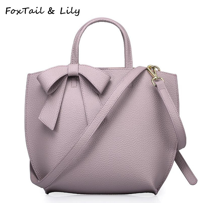 FoxTail & Lily Cute Bowknot Design Genuine Leather Composite Bag Elegant Women Bucket Handbags Female Shoulder Crossbody Bags composite structures design safety and innovation