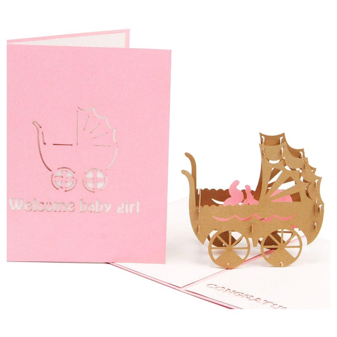 Perfect-3D Baby in pram Card Pop up Birthday Card Baby Gift Handmade Kirigami Paper Art Blank 3D Greeting Card(Baby Girl)