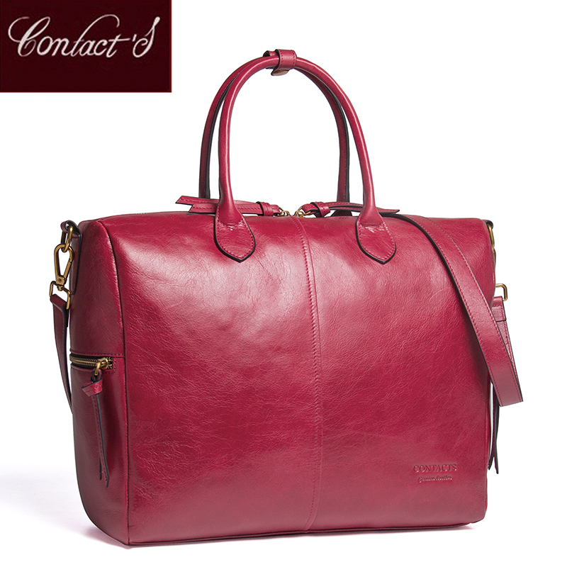 Contact s genuine leather Large Tote Bags Red European Brand Designr High Quality Women Handbags Roomy