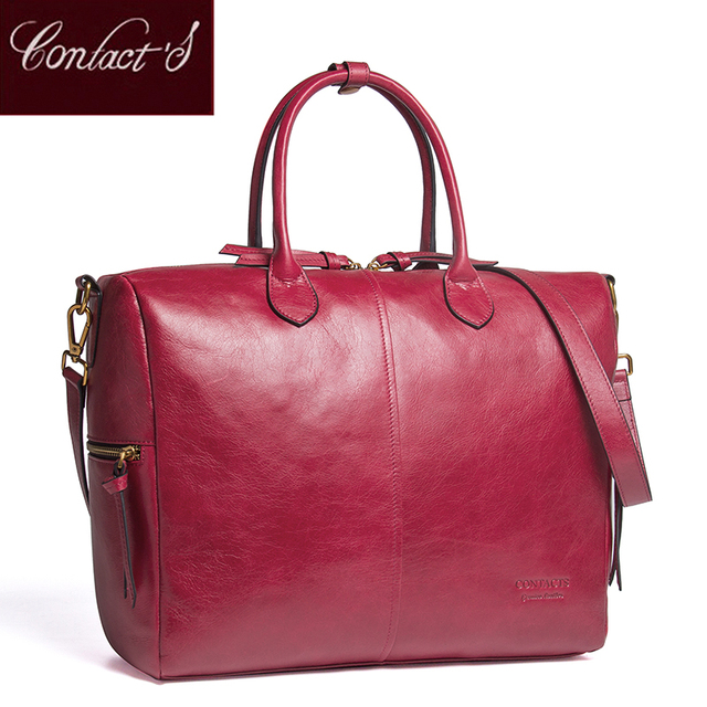 1f2f9dc127 Contact s genuine leather Large Tote Bags Red European Brand Designr High  Quality Women Handbags Roomy Big to Holder Laptop Easy