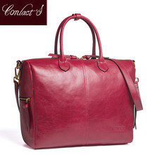 Contact's genuine leather Large Tote Bags Red European Brand Designr High Quality Women Handbags Roomy Big to Holder Laptop Easy(China)