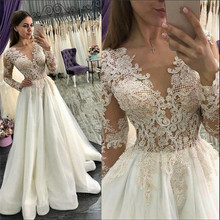 SexeMara A-Line Wedding Dress with V-Neck Long Sleeves
