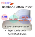 Miababy Bamboo Cotton Inserts 4 Layers For Baby Boy and Girl, working with any diaper cover  soft free shipping