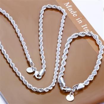 90b4d5a62284 Moda al por mayor de los hombres Cuerda cadena collar + Pulsera 4mm Joyería  plateada de plata conjuntos jewlery Set