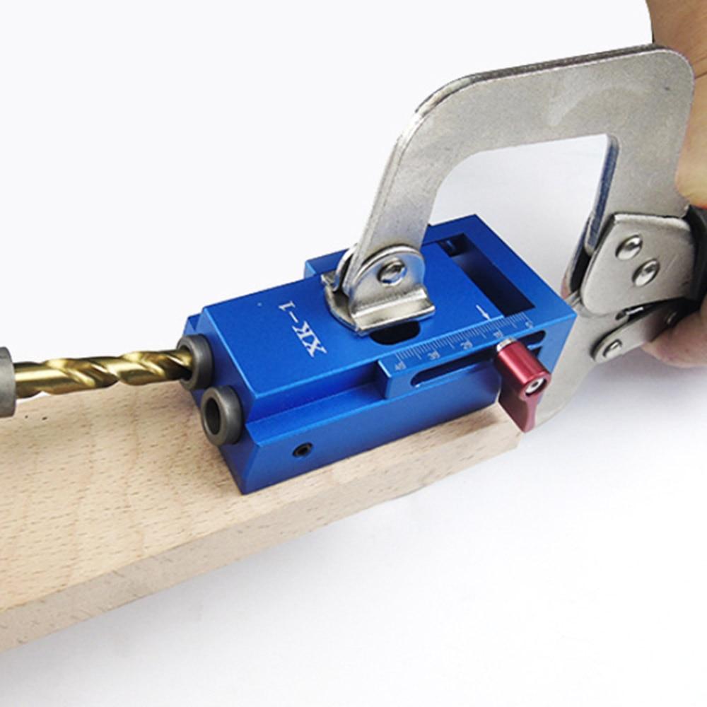 herramienta de trabajo de madera Plantilla de orificio de bolsillo con abrazadera de palanca y broca escalonada,anodizado acabado para mayor durabilidad Juego de gu/ía de taladro de agujero azul