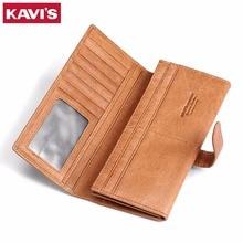 KAVIS Genuine Leather Men Wallet Fashion Purse With Card Holder Vintage Long Wallet Clutch Wrist Bag Hasp Organizer Women Walet