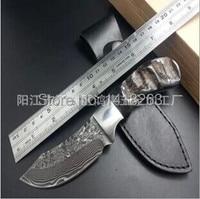 야생 정글 서바이벌 58HRC 자연 경적 핸들 스틸 작은 직선 나이프 절단 도구 캠핑 사냥 칼 최고의 선물