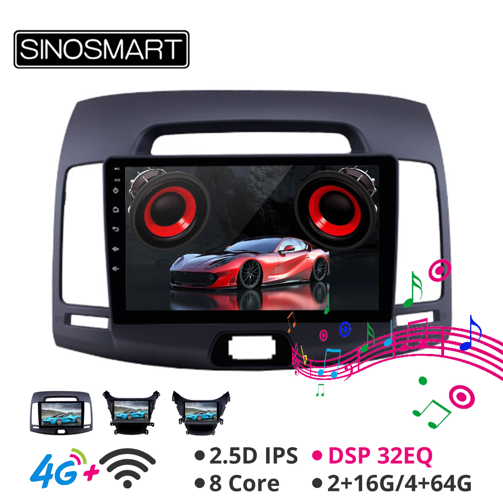 Sinosmart Android 8.1 Car GPS Navigation Autoradio for Hyundai Elantra Avante MD I35 2008-2011,2012-2015 2din IPS/QLED Screen image