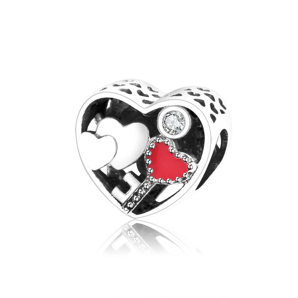 Fits Original Pandora Charm Bracelet DIY Jewelry Making 2018 New Authentic 925 Sterling Silver Heart Charms Beads With Clear CZ