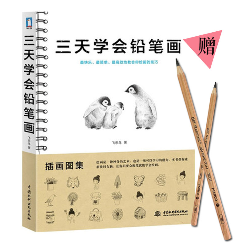 New chinese book Three days to learn pencil drawing Sketch tutorial book Hand-drawn stick figure Basics book With two pencil adult pencil book stick figure cute chinese painting textbook easy to learn drawing books by feile bird studios