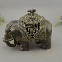 Old Chinese Dynasty Palace Bronze Elephant Statue Incense Burner Censer