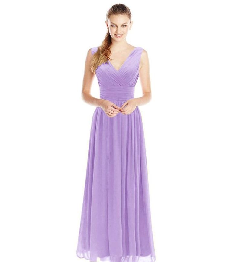 Coral Vestidos de dama de honor largo V cuello plisado elegante ...