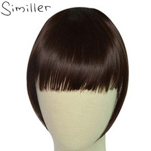 Similler Black Short Front Blunt Bangs Clip in Bang Fringe Hair Extensions Straight Synthetic Hairpiece 34 Colors(China)
