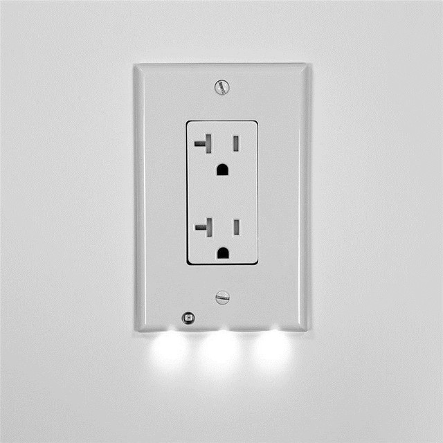 Cover Led Light Sensor Control Night Angel Wall Outlet Face Hallway Coverplate Lighting For Stair
