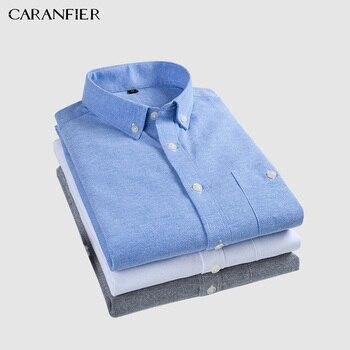 0f73e3e9f CARANFIER Mens vestido camisa Oxford Social Formal de negocios hombre Slim  Fit de manga corta sólido clásico de ocio camisas Chemise Homme