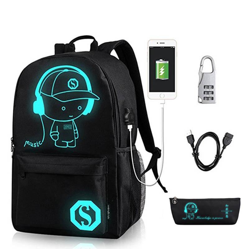Anime Leucht Schule Rucksack Für Junge Studenten Daypack Schulter Unter 15,6-zoll mit USB Lade Port und Schloss Schule tasche Schwarz