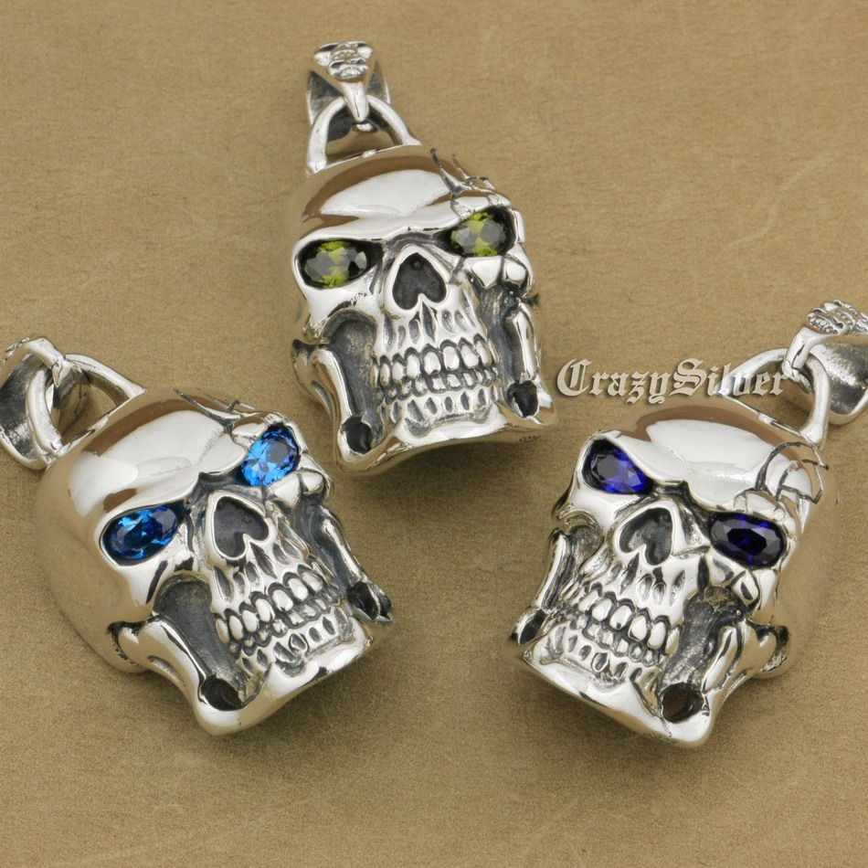 925 Sterling Silver Huge Heavy CZ Eyes Skull Mens Biker Rocker Punk Pendant 9E108 Just Pendant 925 sterling silver crescent moon skull mens biker rocker punk pendant 9v010 free shipping