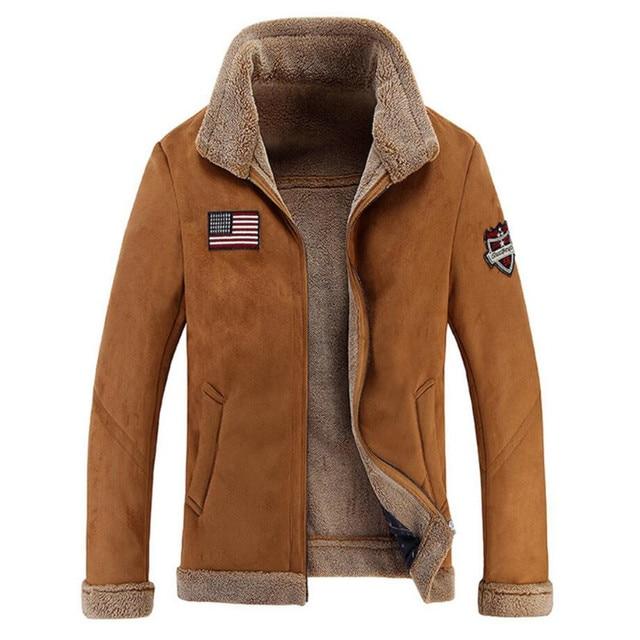 New 2016 Winter Mens Vintage Pilot Leather Jacket Man Thicken Warm Faux Fur Coat Men High Quality Wool Liner Bomber Deri Jackets