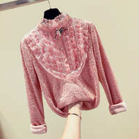 MUMUZI Long Sleeve Turtleneck Blouse Flower Crochet Warm Thick Lace Top Women Elegant Fleece Spring New Blouses Big Size 3XL