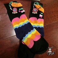 2019 Real New Women Socks Custom Girl Fashion Sequins On Short Tube Tide Brand Pearl Cotton In Piles Of Rainbow Wave Stripe