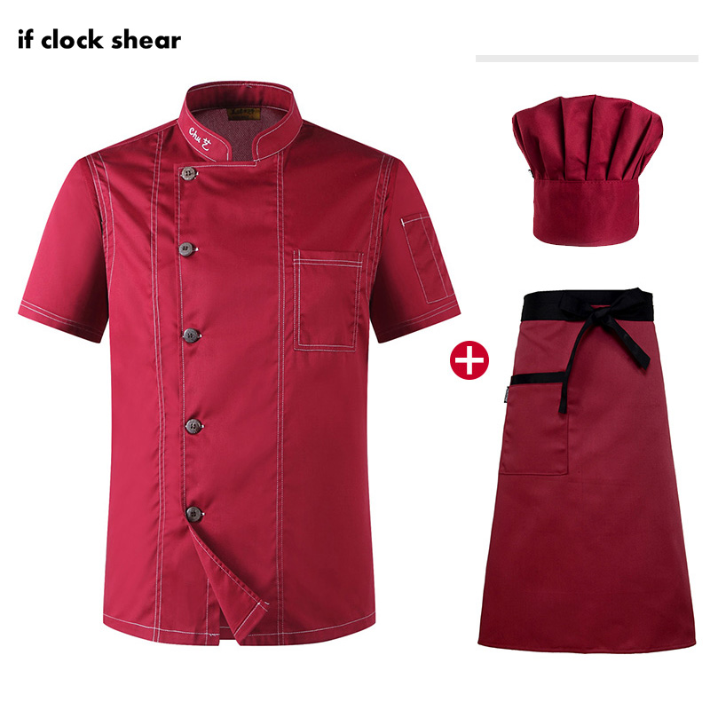 High Quality Chef Jacket Hat Apron Unisex Kitchen Cooking Clothes Short Sleeved Chef Restaurant Uniforms Summer Chef Coat M-4XL