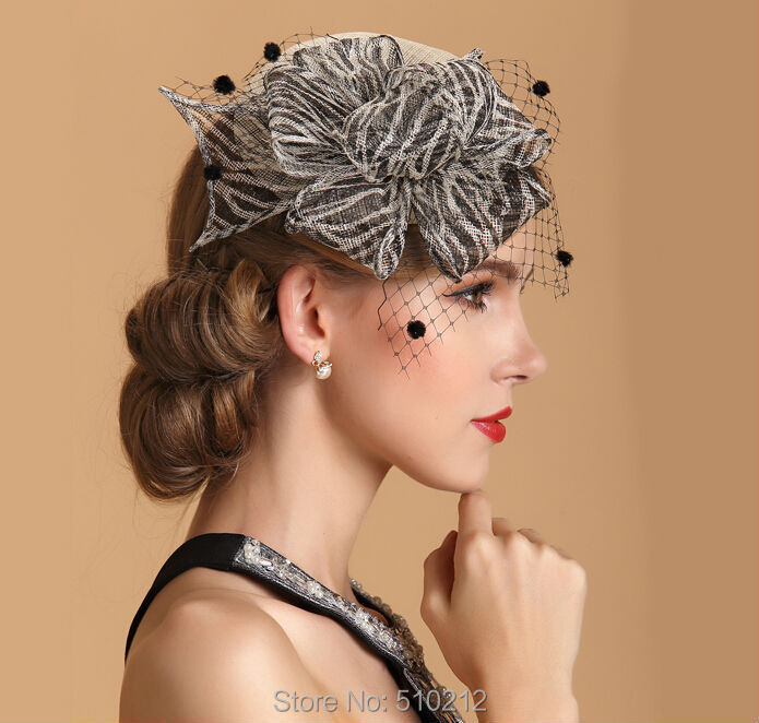 Fashion Mini Top Hats Wedding Linen Flower Hats And Fascinators For