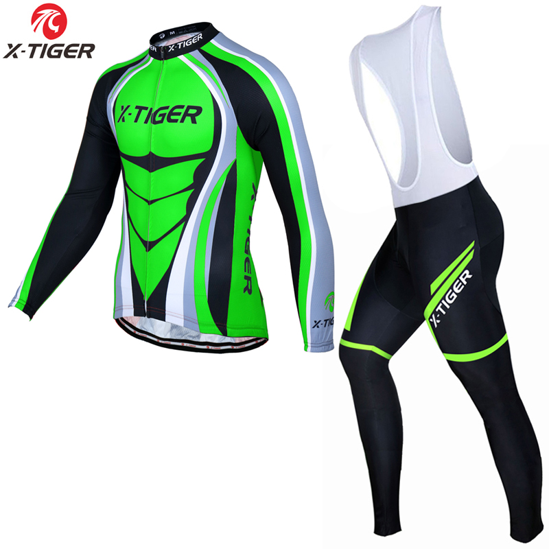 X-Tiger 2017 Pro Cycling Jersey <font><b>Set</b></font> Long Sleeve Breathable MTB Bike Clothes Wear Kit Men Bicycle Clothing Ropa Maillot Ciclismo